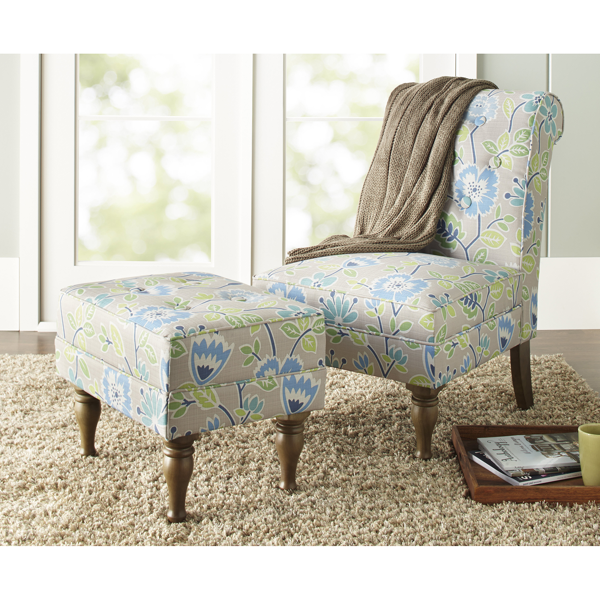 Blue Patterned Chair 10 Spring Street Preston Floral Chair Blue Walmart