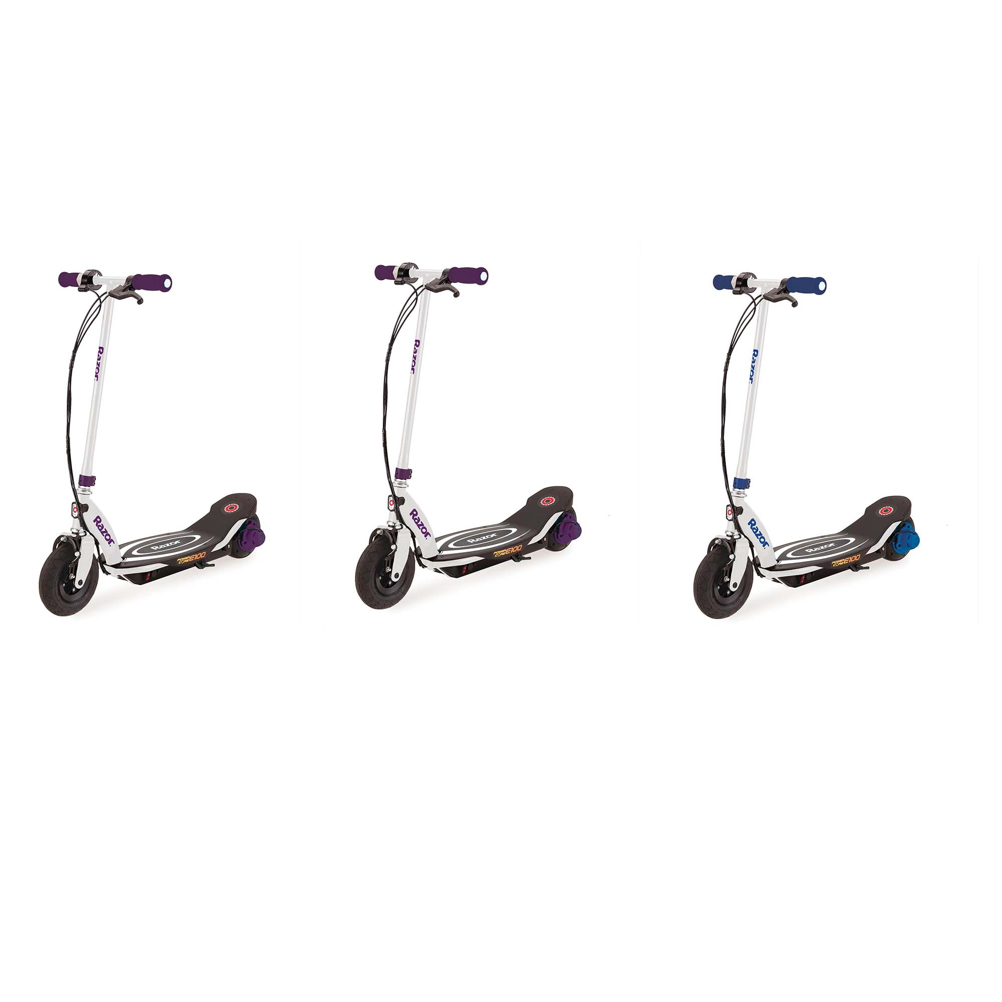 Razor Power E100 Electric Scooter, Purple (2 Pack) + Power