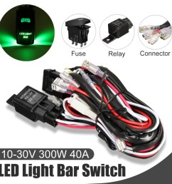 car laser rocker switch wiring harness led light bar 5 pin relay fuse green install kit set universal automortive auto vehicle suv truck van led 12v 40a us [ 1200 x 1200 Pixel ]