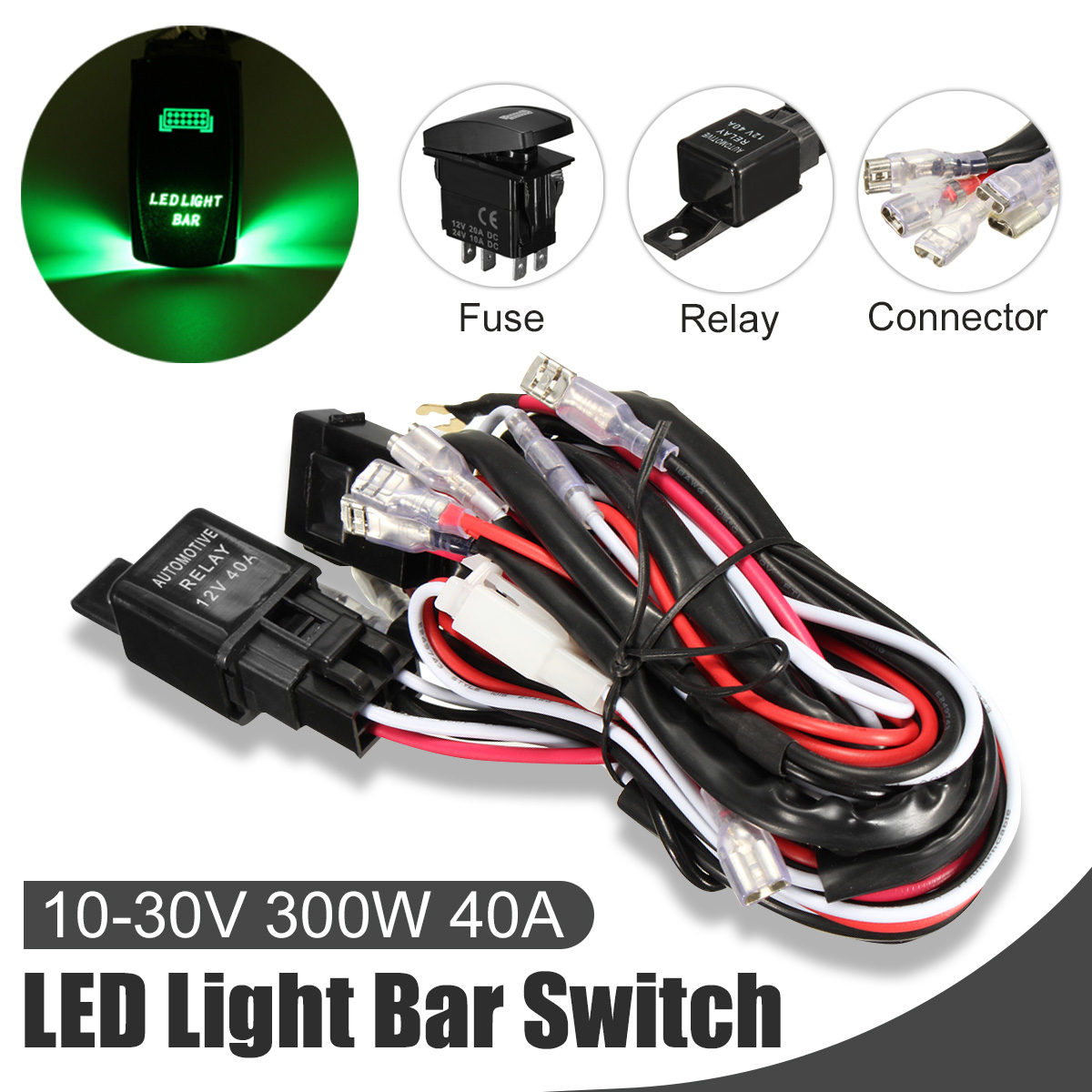 hight resolution of car laser rocker switch wiring harness led light bar 5 pin relay fuse green install kit set universal automortive auto vehicle suv truck van led 12v 40a us
