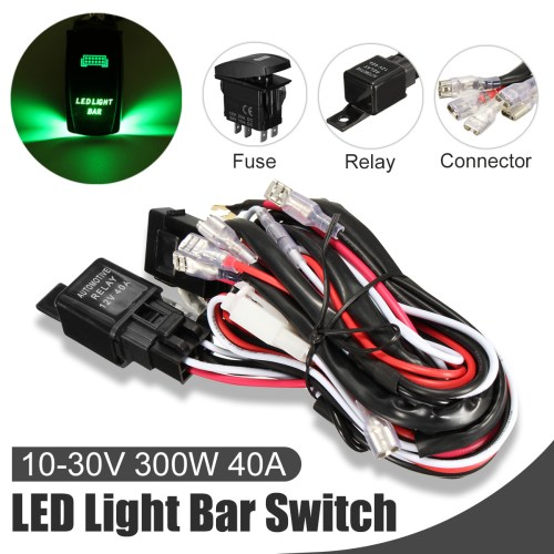 small resolution of car laser rocker switch wiring harness led light bar 5 pin relay fuse green install kit set universal automortive auto vehicle suv truck van led 12v 40a us