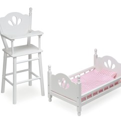 American Doll Chair Steel Bracket Badger Basket English Country High And Bed Set With Chevron Bedding White Pink Fits Girl My Life As Most 18 Dolls Walmart Com