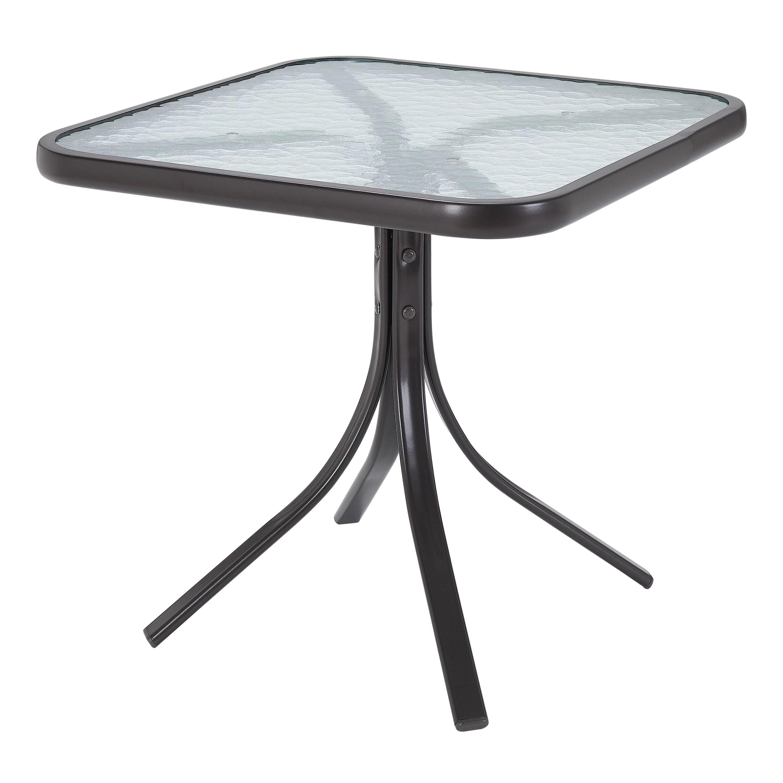 Mainstays Square Glass Patio Table 20 X 20 Dark Brown Finish Walmart Com Walmart Com