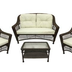 Walmart Resin Chairs Folding Chair No Arms 4 Pc Somerset Dark Brown Wicker Patio Loveseat Table Furniture Set