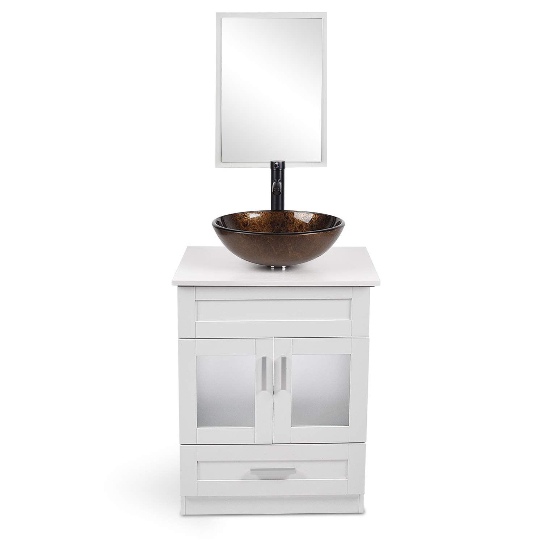 24 inch bathroom vanity set mdf white floor cabinet counter top glass vessel sink mirror faucet