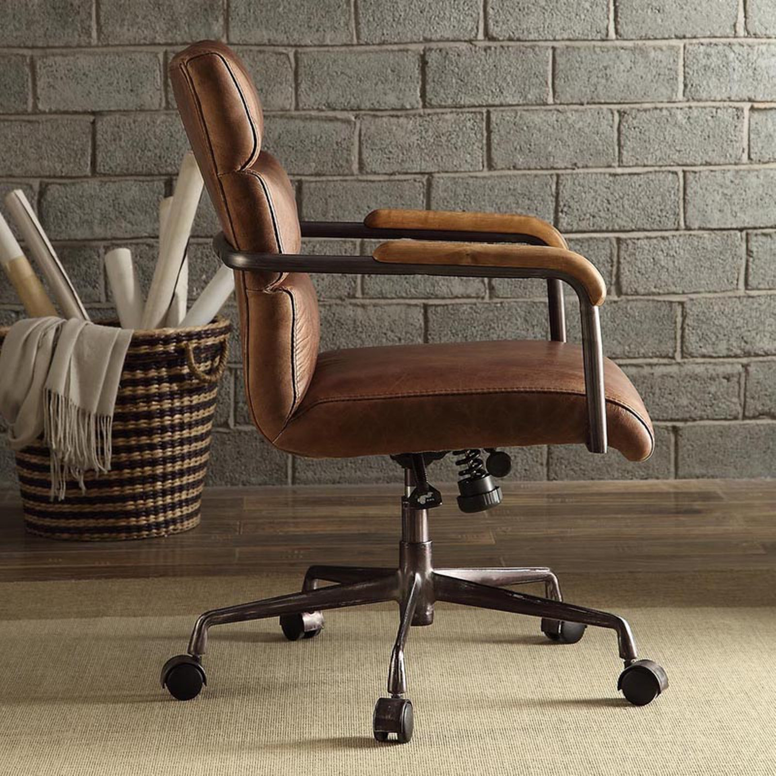 harith high back leather executive chair rustic dining chairs acme furniture office retro brown walmart com