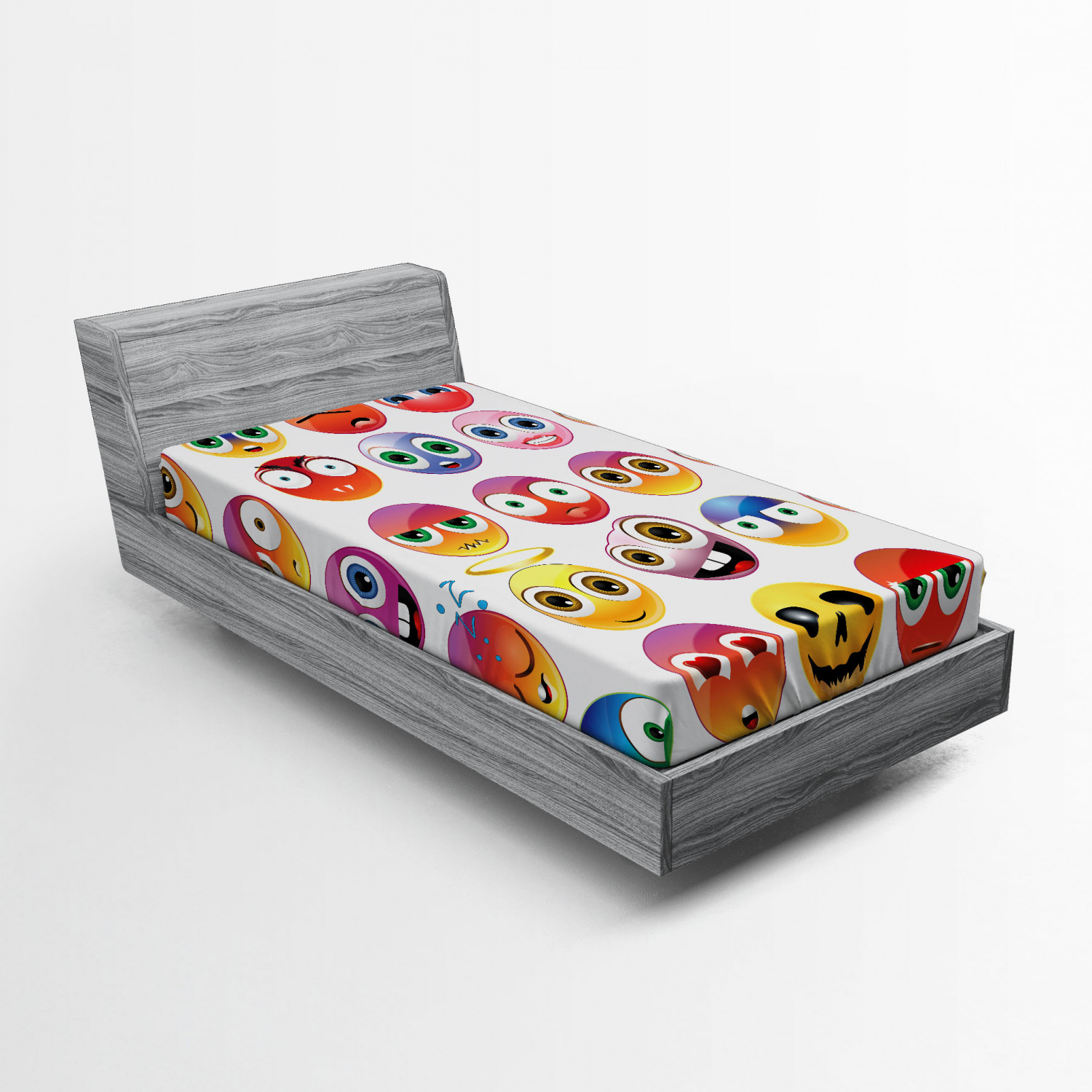 Emoji Fitted Sheet Rainbow Colored Cartoon Like Smiley