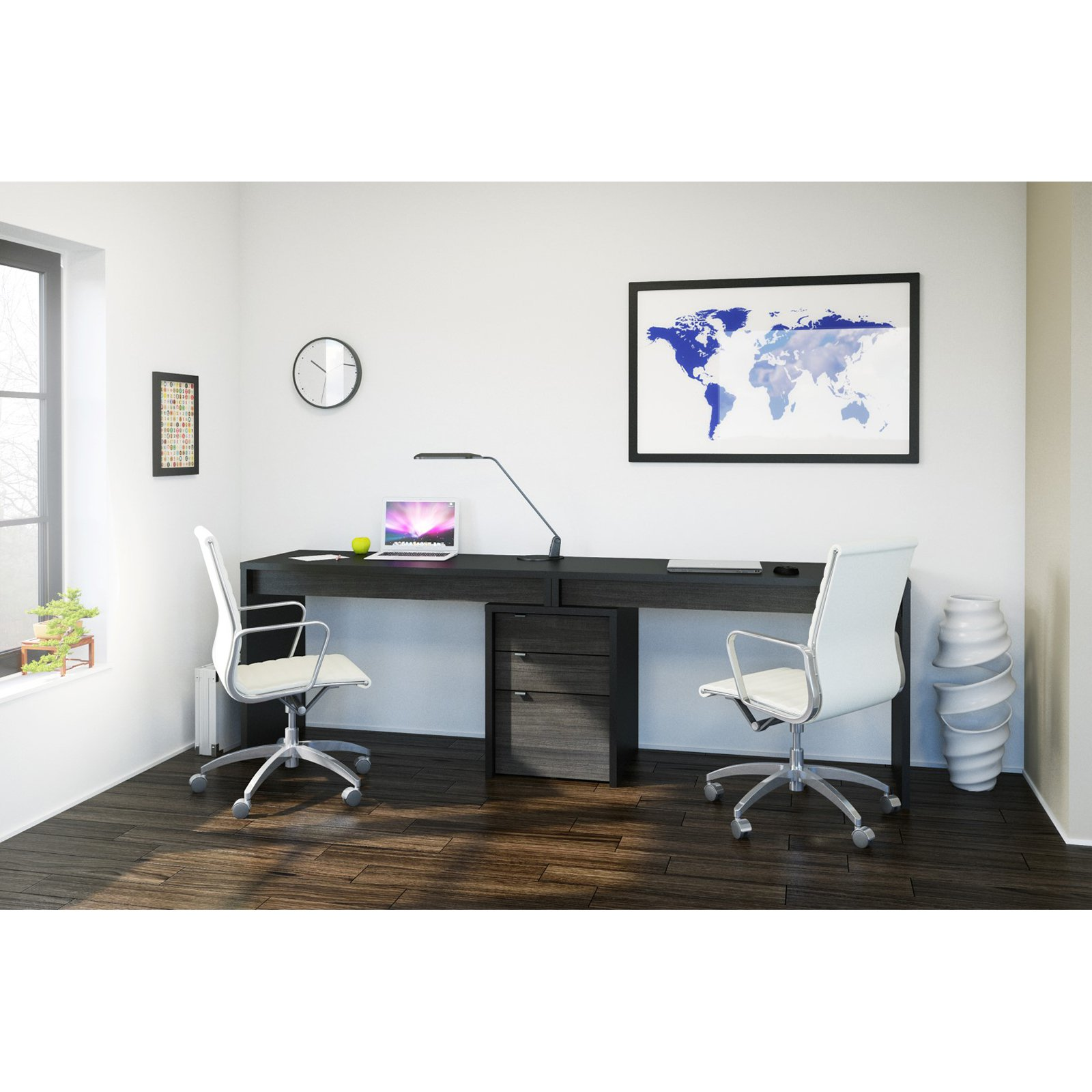 Nexera SereniT 2 Person Desk with Filing Cabinet  Black