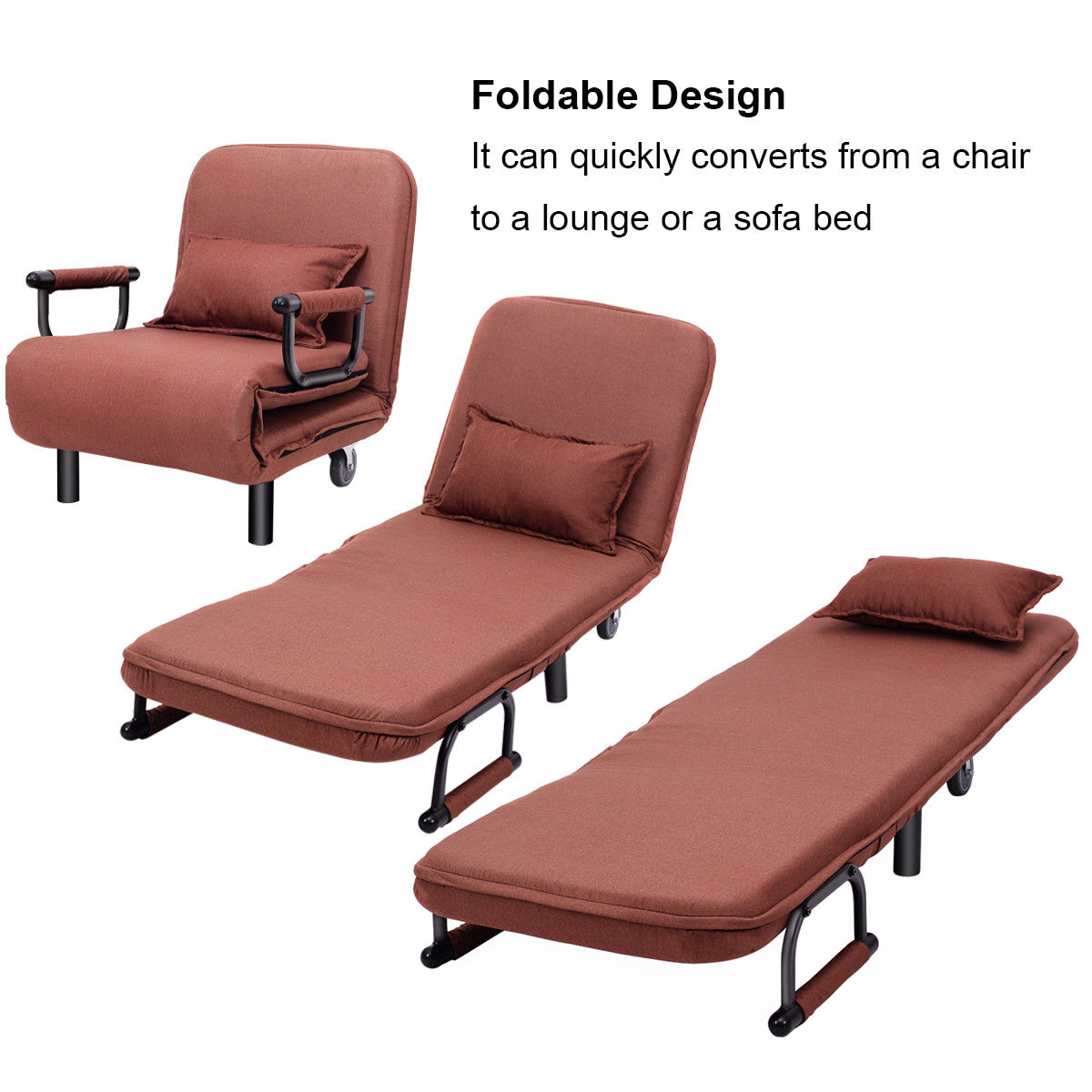 Foldable Bed Chair Costway Convertible Sofa Bed Folding Arm Chair Sleeper Leisure Recliner Lounge Couch