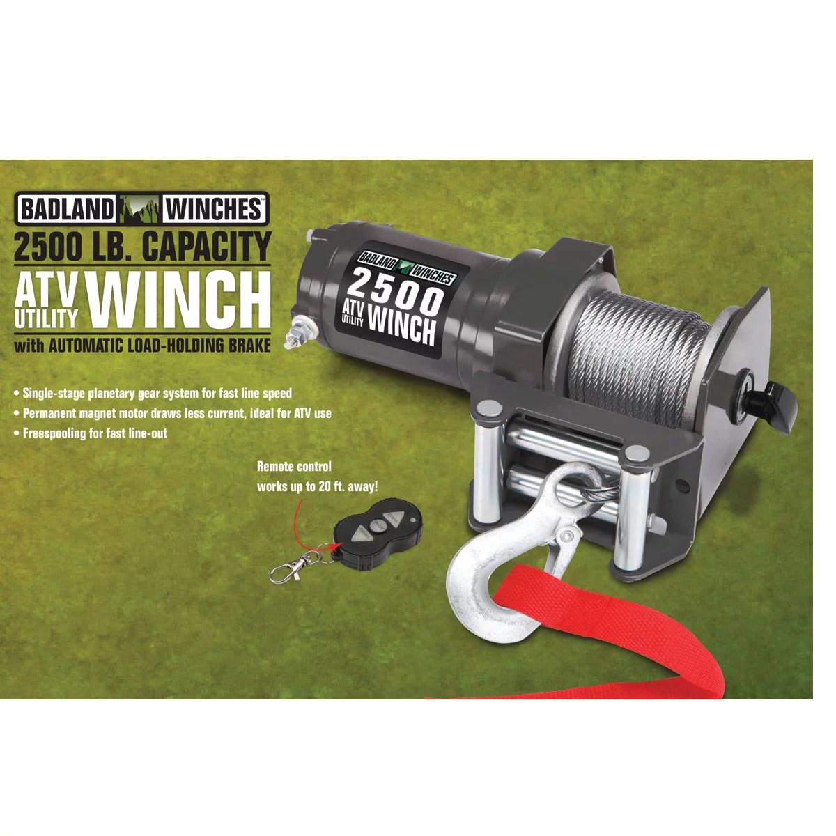 hight resolution of badland electric winch 2500 lb atv utility wireless remote control 61840 walmart com