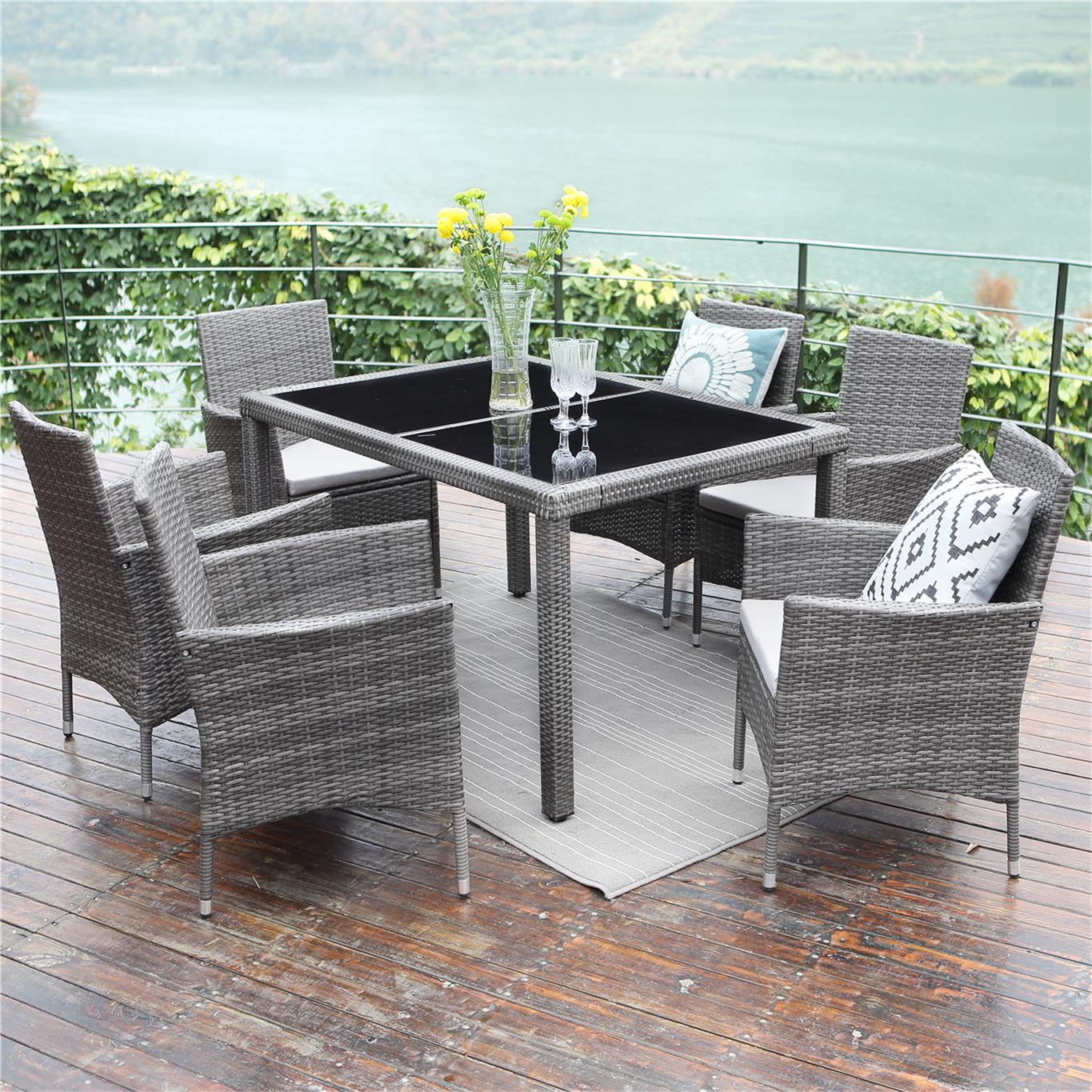 Outdoor Wicker Dining Chairs 7 Piece Patio Wicker Dining Set Wisteria Lane Outdoor Rattan Dining Furniture Glass Table Cushioned Chair Grey