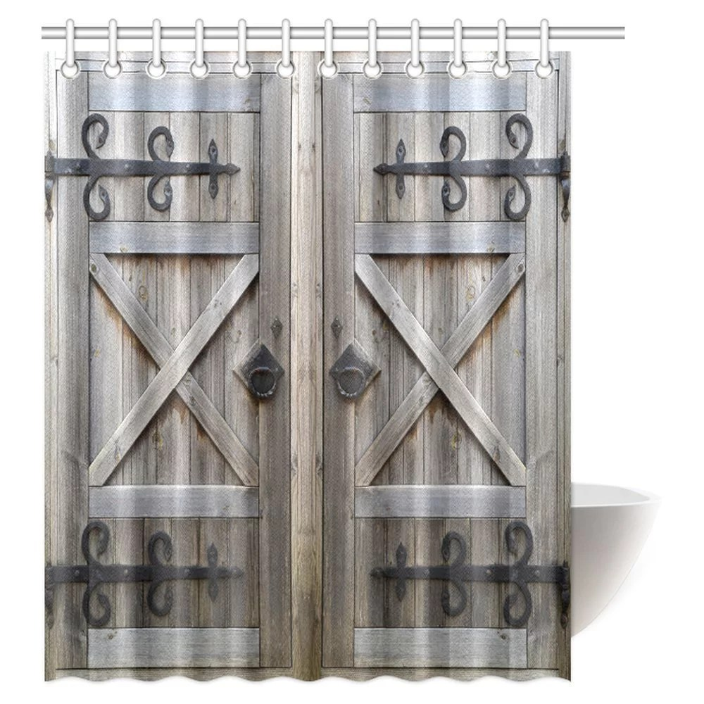 mypop old wooden door shower curtain american style retro country barn wood door pattern vintage rustic theme polyester fabric shower curtain 60 x