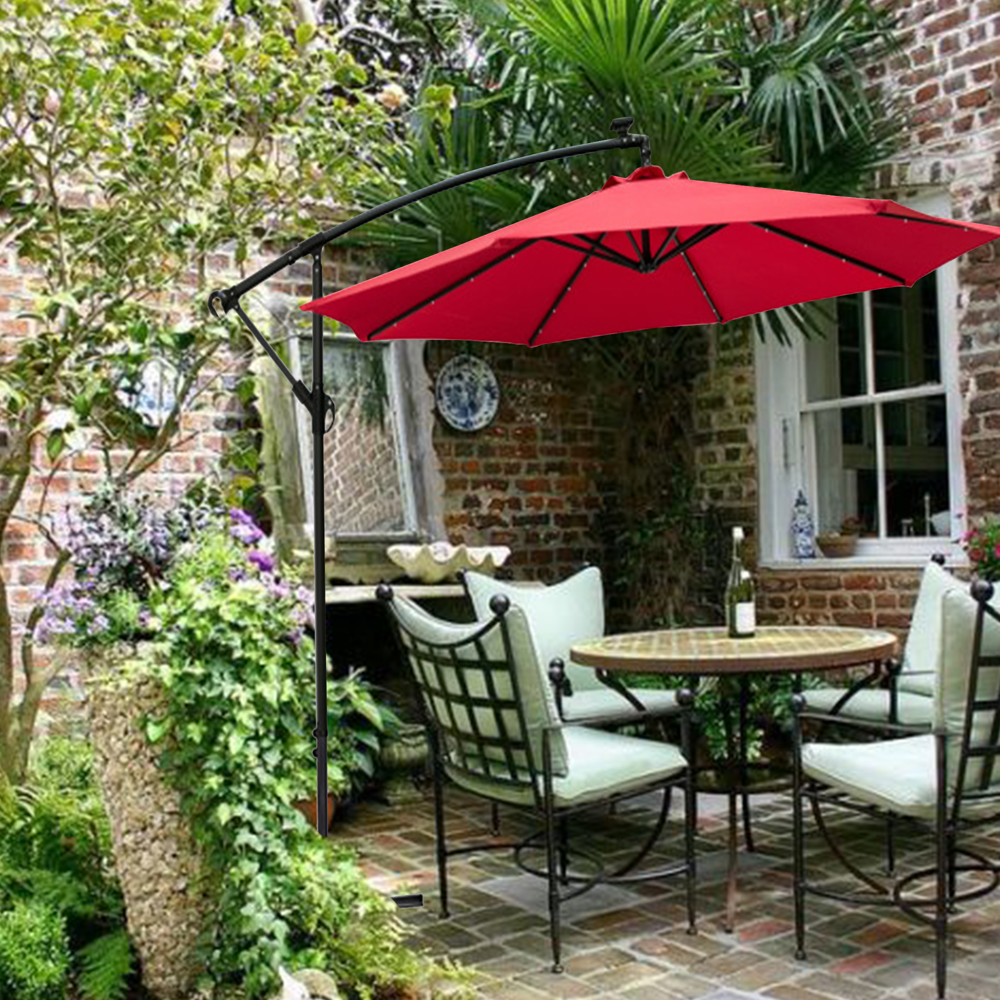 wesfital 10ft solar led offset hanging patio umbrella with crank handle red without base walmart com