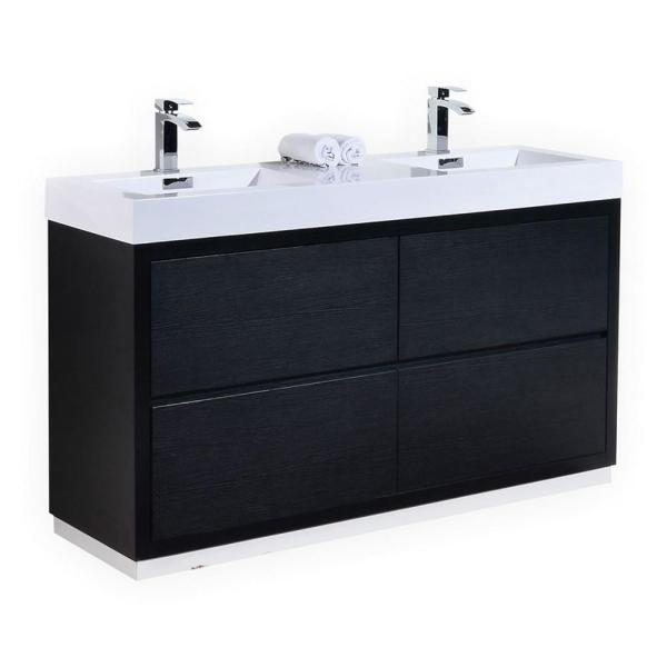 "Kubebath Bliss 60"" Black Free Standing Double Sink Modern"