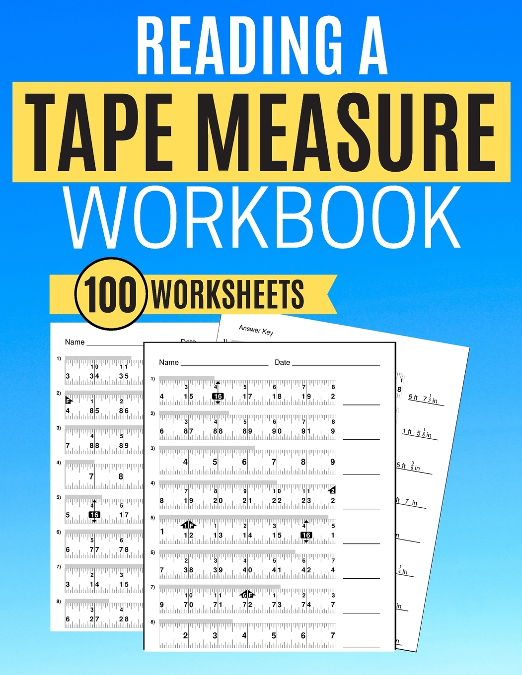 Reading A Tape Measure Workbook 100 Worksheets Paperback