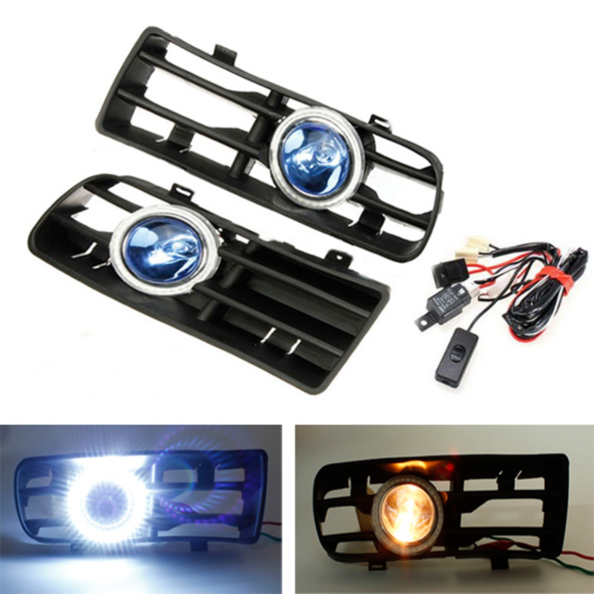 hight resolution of 12v led bumper grille fog light daytime running lamp driving running drl fog lamp foglight turn signal indicator white angel eye wiring harness on off