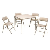 Cosco 34 in. Square Table and Chair Set - Wheat - 5 Pack ...