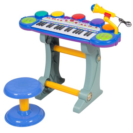 Musical Kids Electronic Keyboard 37 Key Piano W/ Microphone, Synthesizer, Stool, Records and Playbacks Music Blue