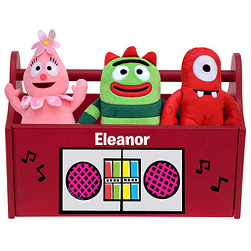 Personalized Yo Gabba Gabba Boom Box Red Toy Caddy