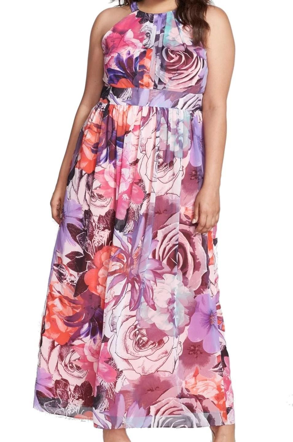 Eliza  new pink womens size  plus floral print maxi dress also rh walmart