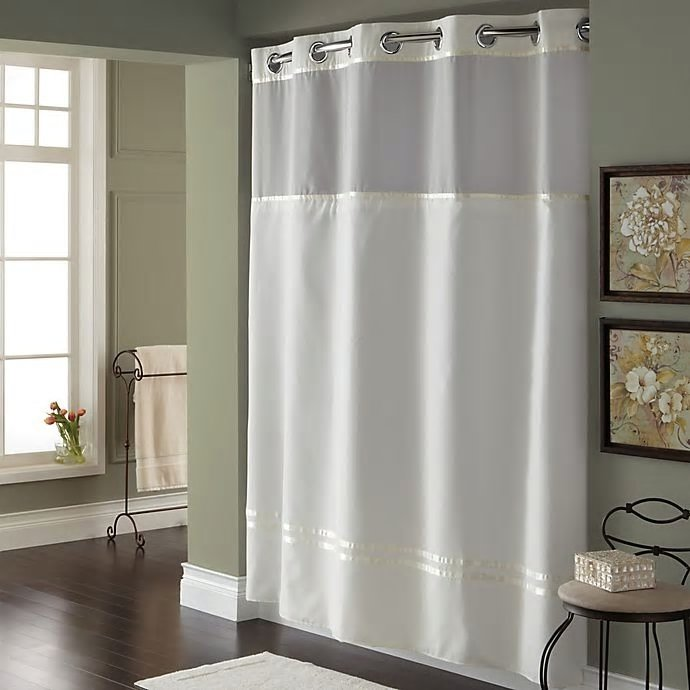 hookless escape 71 inch x 86 inch long fabric shower curtain and liner set in white