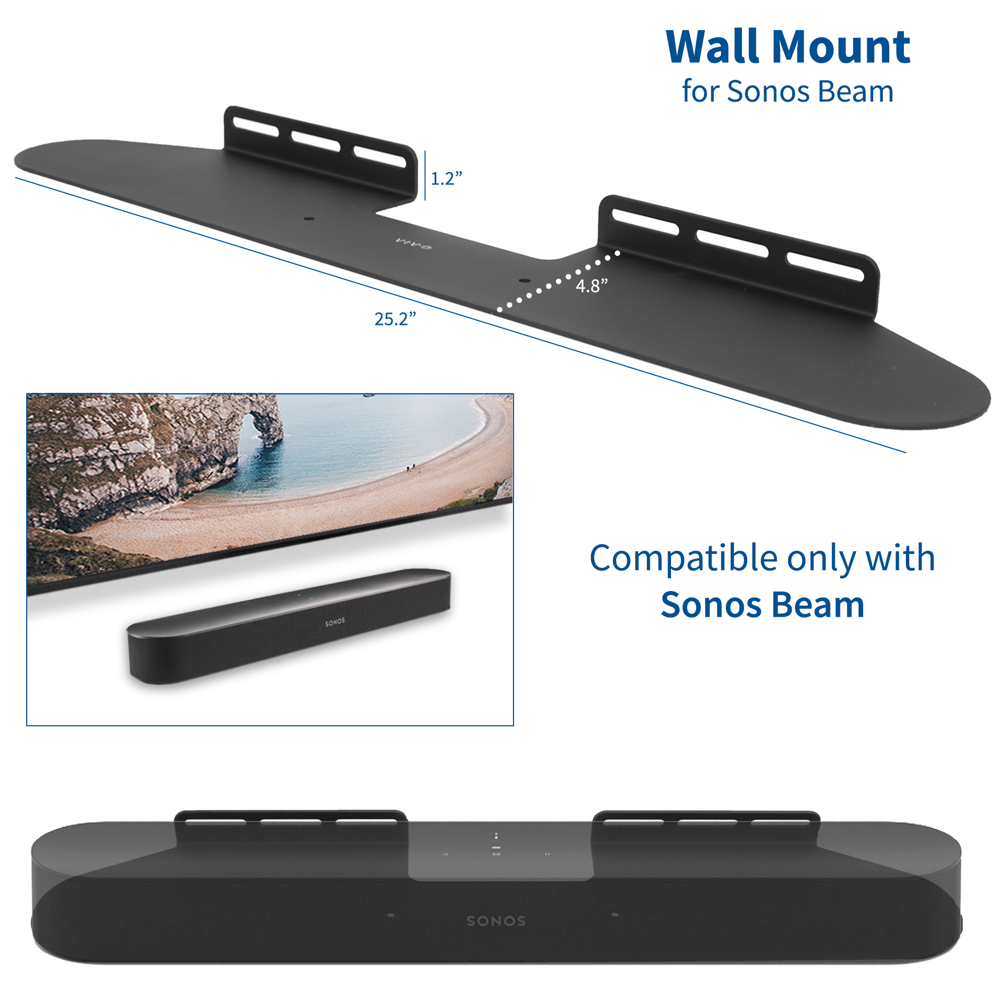 vivo black steel wall mount speaker bracket designed for sonos beam sound bar shelf wall mounting kit mount sonos2b