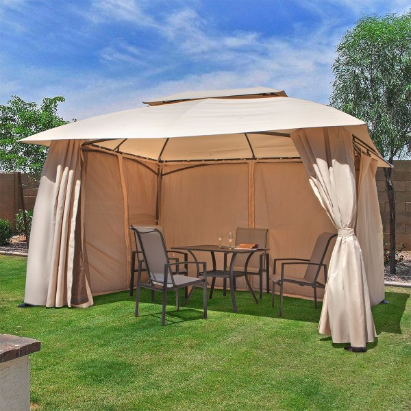 Outdoor Home 10' X 13' Backyard Garden Awnings Patio Gazebo Canopy Tent Netting 728821482323