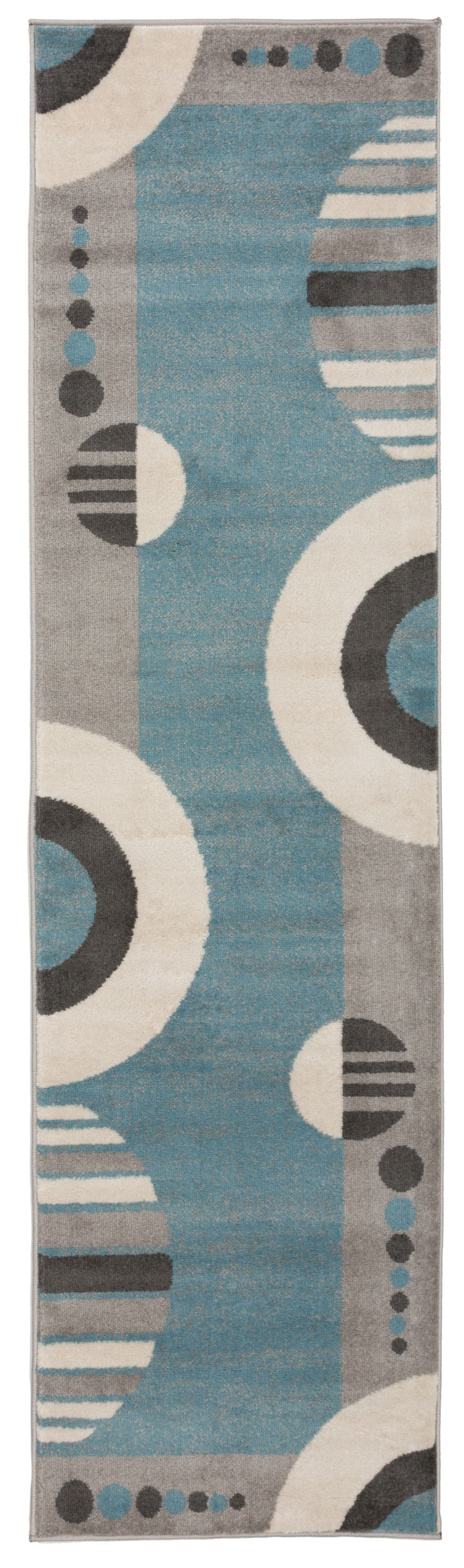 Contemporary Geotmetric Circles Pattern Area Rug 2 X 7 2 Blue