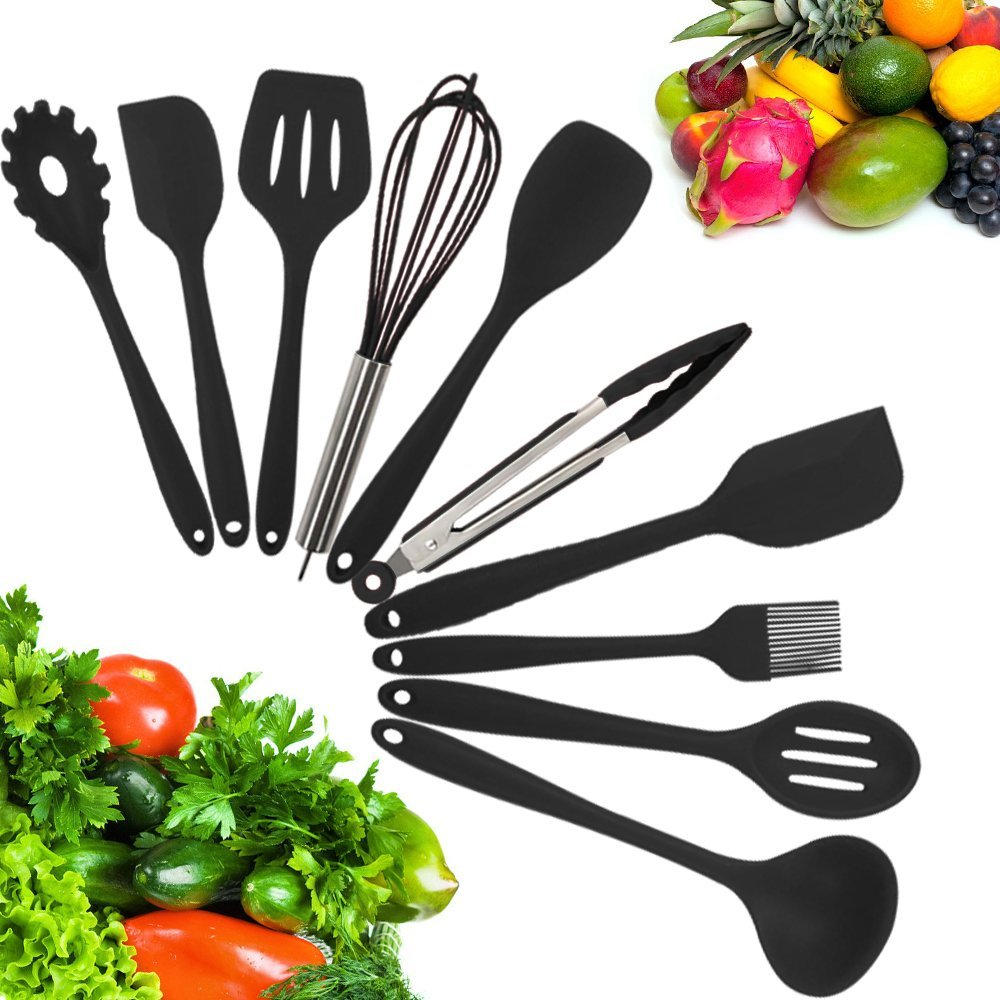 kitchen utensils set butcher block island 10 silicone cooking utensil stainless steel