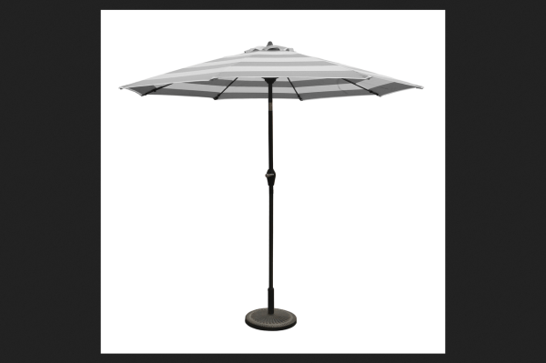 Living Accents Market 9 Ft. Tiltable Gray Stripe Umbrella