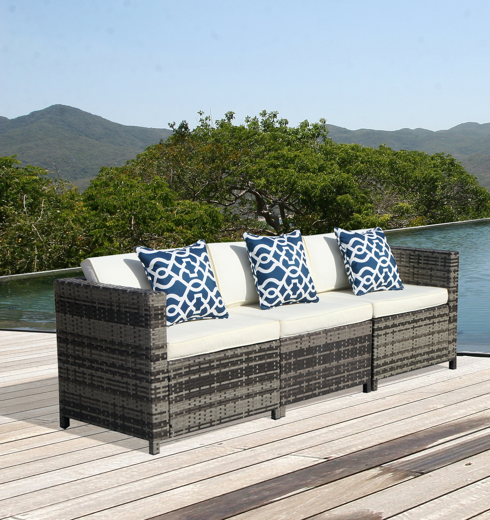 armless sofas reclinable 3pcs patio outdoor pe wicker sectional sofa set with cream white cushions two corner and one steel frame gray walmart com