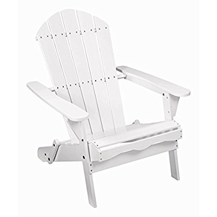 Living Accents Folding Wood Adirondack Chair  White