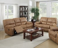 Lillian 2 pc Golden Brown Printed Leather Fabric Living