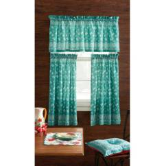 Kitchen Window Valance Particle Board Cabinets The Pioneer Woman Bandana 3pc Curtain And Set Teal Multiple Colors Walmart Com