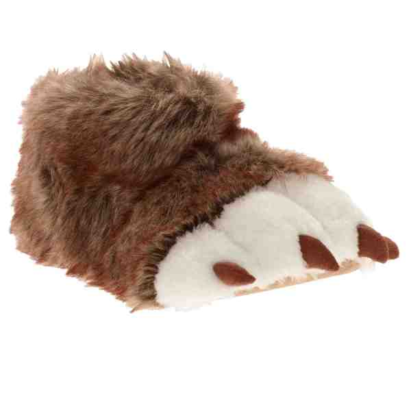 7fabe37e201 Boys Fuzzy Brown & White Bear Paw Claw Slippers House Shoes