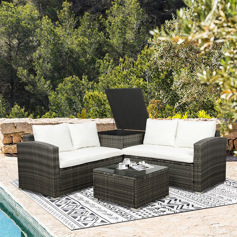 4 piece rattan patio furniture sets wicker bistro patio set with ottoman glass coffee table outdoor cushioned pe rattan wicker sectional sofa set