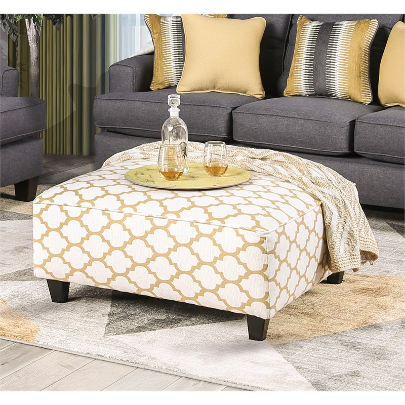 furniture of america allen upholstered coffee table ottoman in quatrefoil yellow walmart com