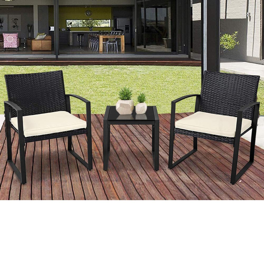 suncrown outdoor furniture 3 piece patio bistro set black wicker chairs and glass top coffee table beige white cushion walmart com