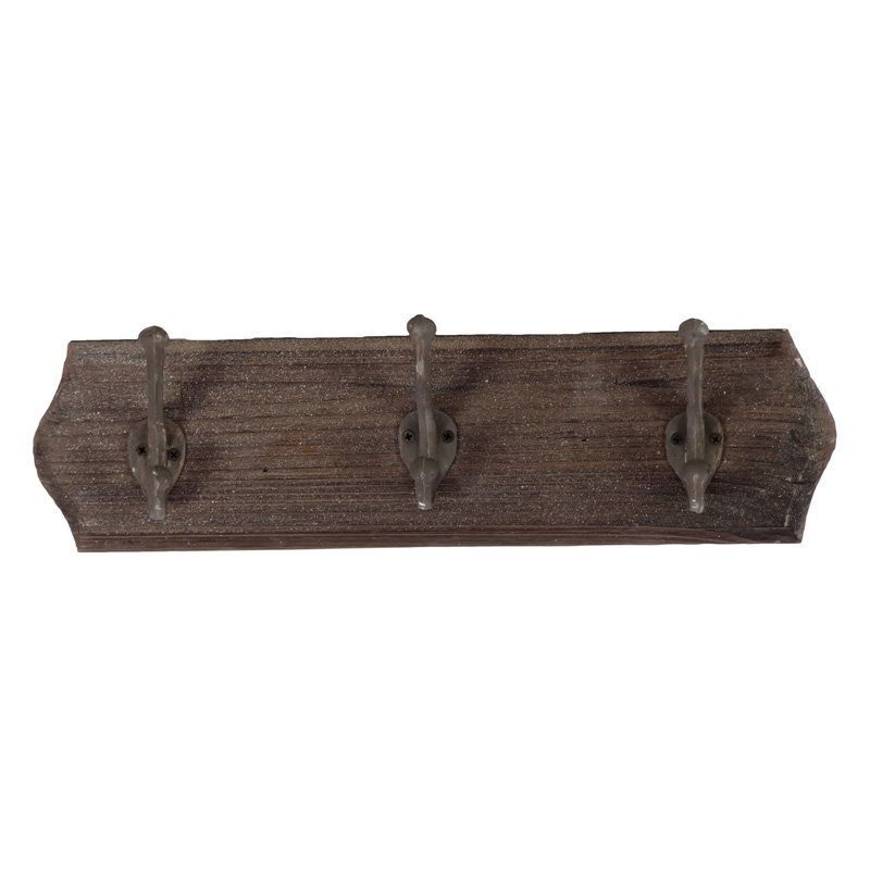 Urban Trends White Wood Wall Coat Rack with 6 Hooks