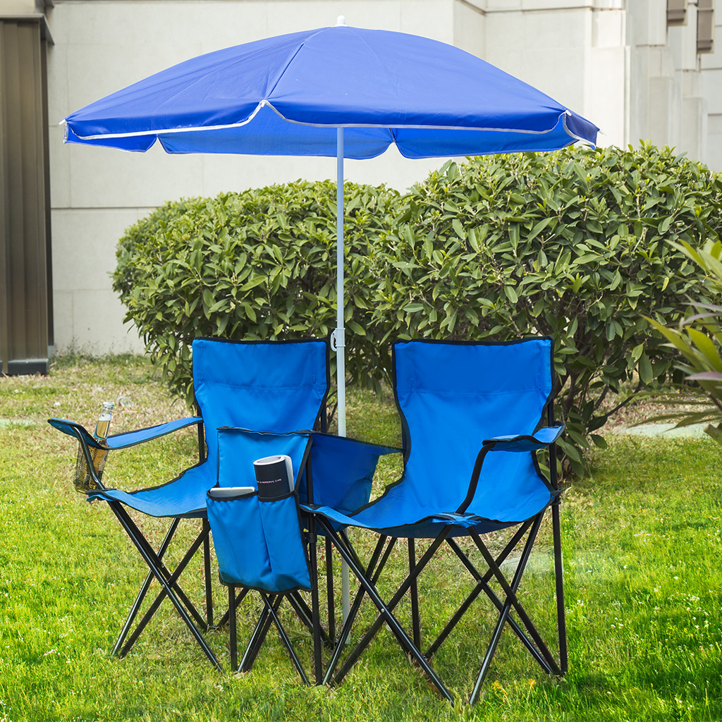 fishing chair umbrella holder stool in chinese finether portable folding double camping with table cooler mesh cup