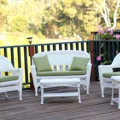 White Resin Wicker Chairs Reclining Accent Chair Canada 4 Piece Patio Furniture Set Loveseat