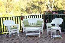 4-piece White Resin Wicker Patio Furniture Set - Loveseat