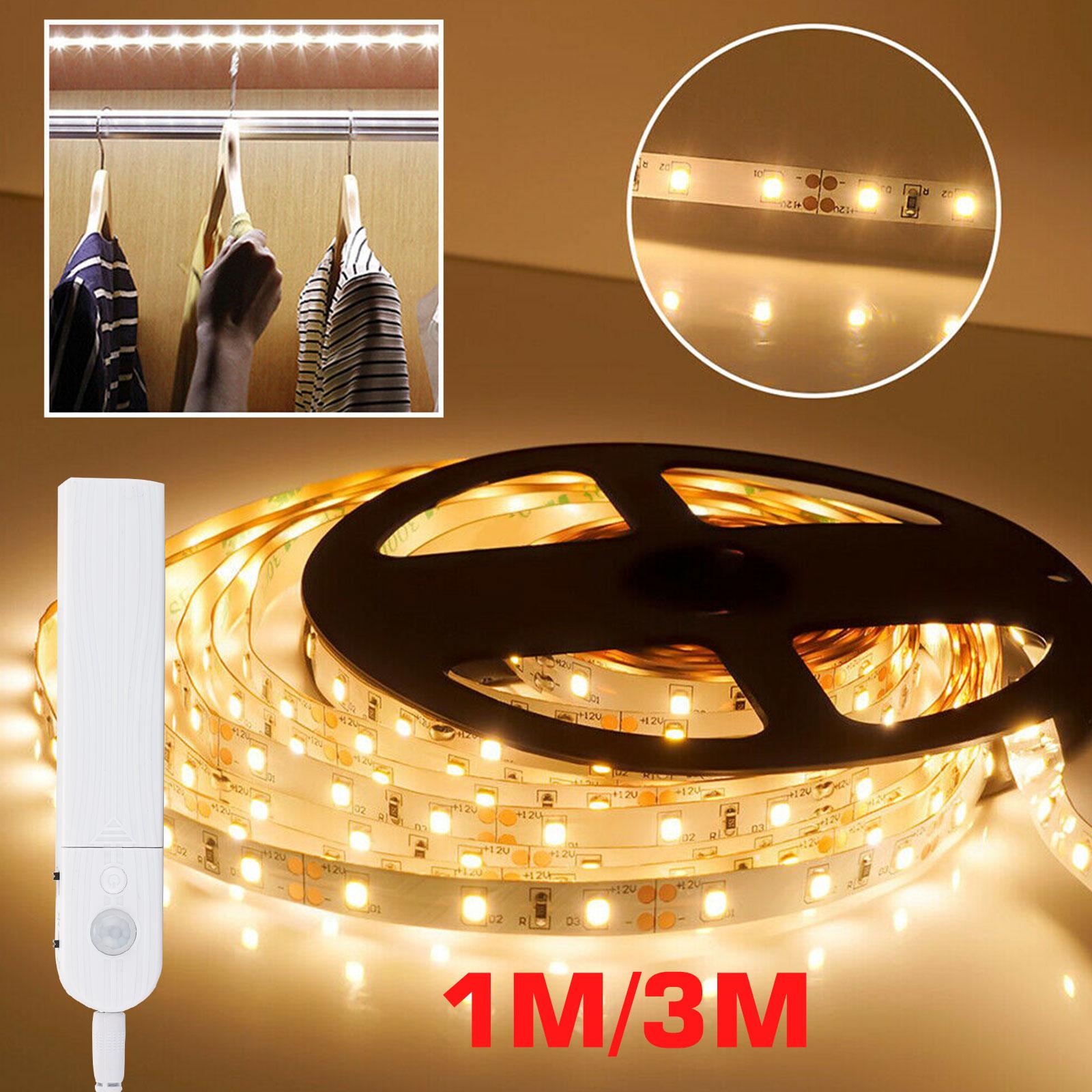 eeekit waterproof under cabinet lighting kit motion activated flexible led strip lights bar under counter lights for tv cupboard closet shelf