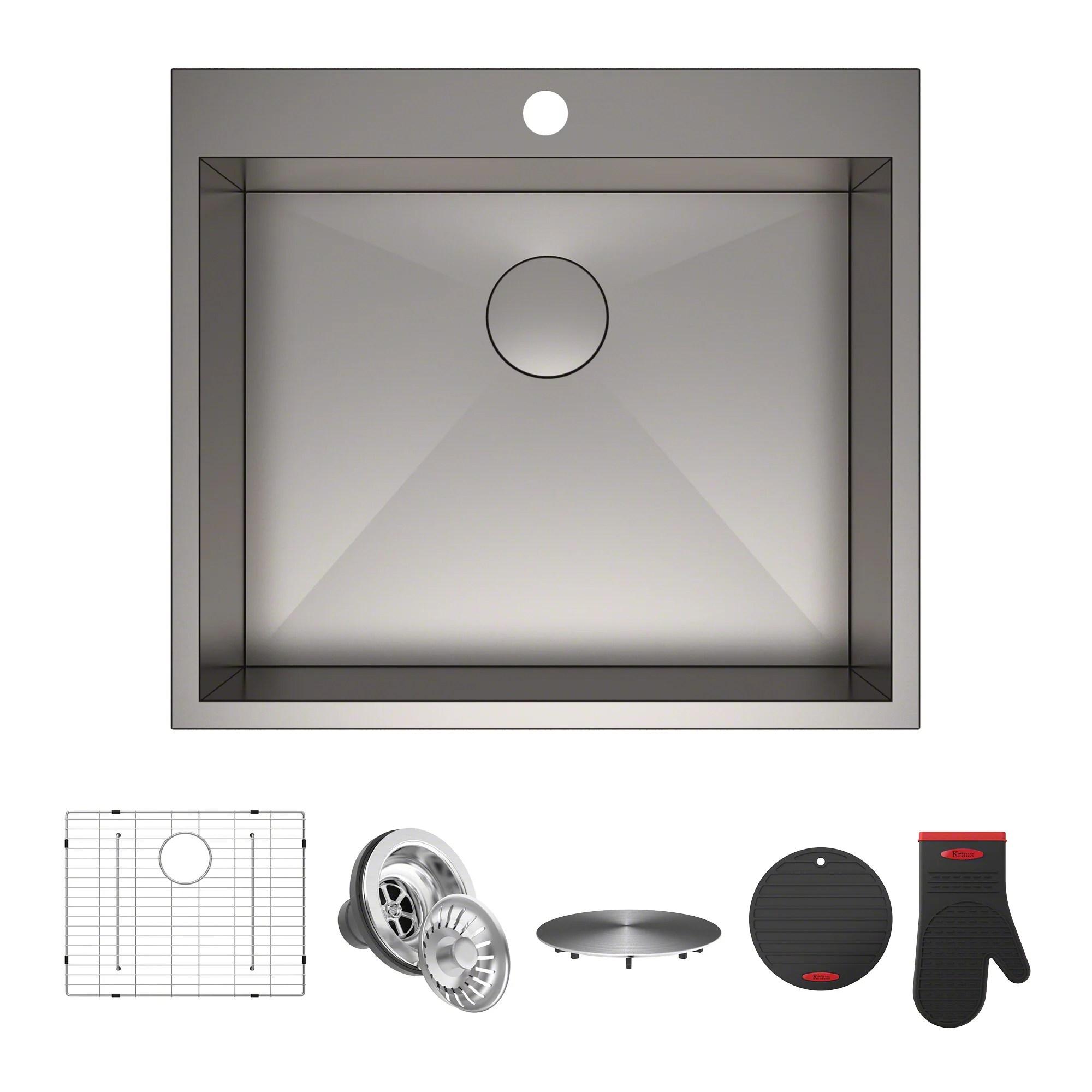 single bowl stainless kitchen sink virtual design kraus pax zero radius 25 steel drop in with 1 pre drilled hole walmart com