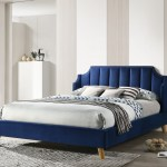 Windsor King Size Upholstered Platform Bed In Navy Fabric With Oak Color Legs Walmart Com Walmart Com