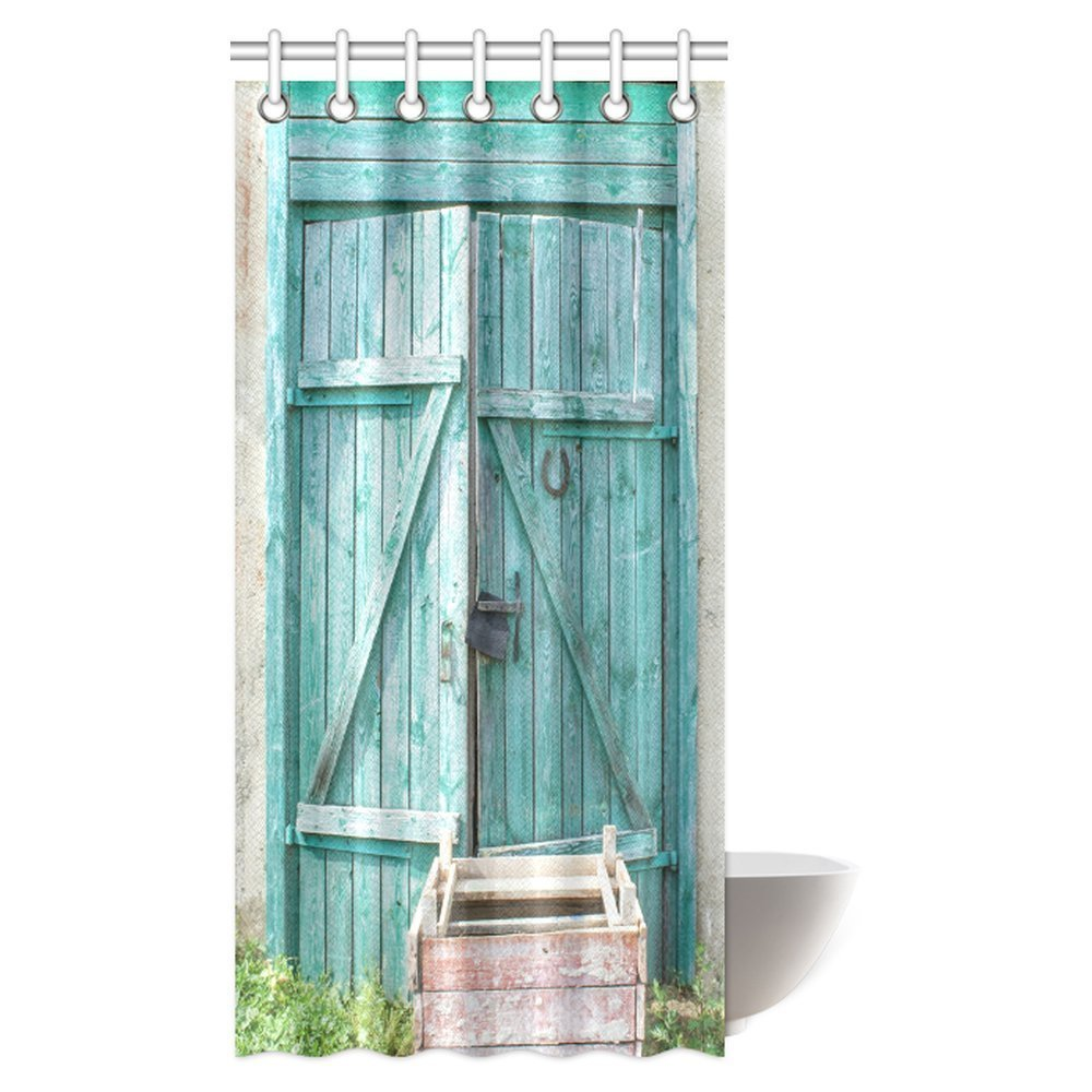 MYPOP Vintage Decor Shower Curtain Set, Rustic Old Green