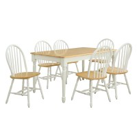 White and Natural Windsor Chairs Dining Room Kitchen Home ...