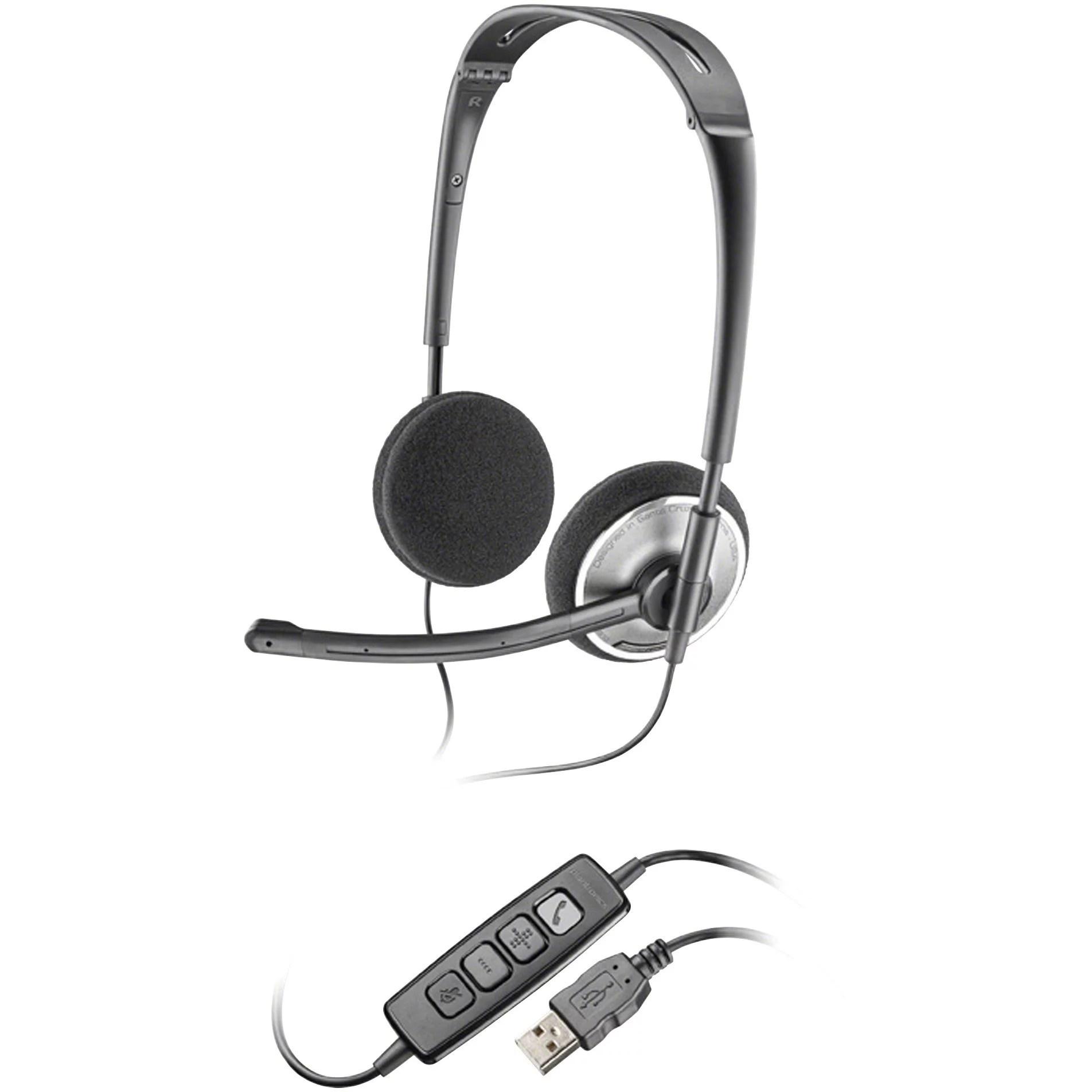 hight resolution of plantronics plnaudio478 audio 478 corded headset 1 black chrome walmart com