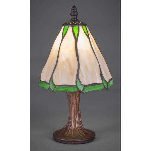 Mini Table Lamp with Honey and Hunter Green Flair Glass