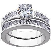 Sterling Silver CZ 2-Piece Wedding Ring Set - Walmart.com